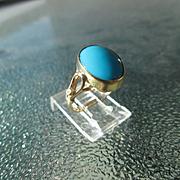 9kt Turquoise/Diamond Handmade Ladies Ring