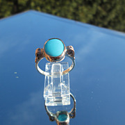 Sterling/9kt Pink Gold Sky Blue Turquoise/Multi Diamond Ladies Ring