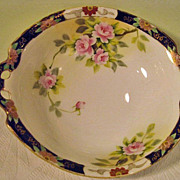 Hand Painted Nippon Two Handled Rose Decorated Bowl