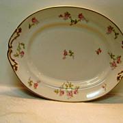 Limoges Rose Decorated Handled Platter