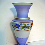 Hand Painted Tall Bristol Glass Footed Floral  Decorated Blue Vase