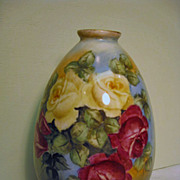 Hand Painted Rose Decorated Limoges Vase