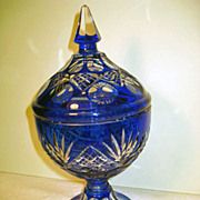 Bohemian Cobalt Cut to Clear Covered Footed Candy Jar
