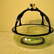 Venetian Blown Glass Basket with Black Glass Handles and Florette