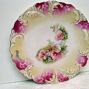 Lovely RS Prussia Floral Decorated Two Handled Cake Plate