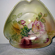 Hand Painted Nippon Rose Decorated Triangular Shaped Bowl