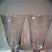 Two Fostoria Heather Footed Ice Tea Goblets Stems