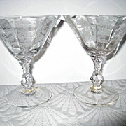 Two Cambridge Rose Point Elegant Depression Glass Sherbets