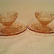 Two Pink Cube Footed Sherbets and Two Under Plates