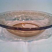 Pink Sharon Cabbage Rose Depression Glass Flat Rim Soup Bowl