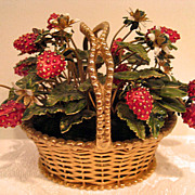 Jane Hutcheson RARE Jeweled Enameled Strawberry Basket