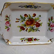 Hand Painted Old Paris Porcelain Two Handled Floral Tray