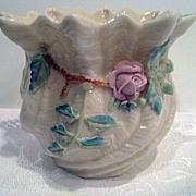 Irish Belleek Rose Decorated Vase
