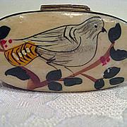 Hand Painted Bone Vintage Brass base Snuff Box