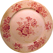 English Red Floral Transfer Ware Plate