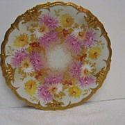 Hand Painted Limoges Chrysanthemum Decorated Plate