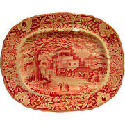 Large Oval Red Transferware Platter