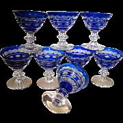 Eight Val St. Lambert Cobalt Cut to Clear Wine Goblets