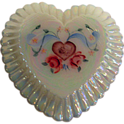 Hand Painted Fenton Rose Heart Shaped Trinket Box