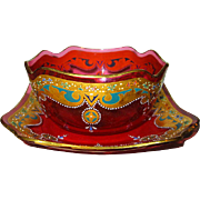Moser Hand Painted Cranberry Bowl and Under Plate