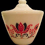 Fire King Modern Tulip Designed Grease Jar complete with Original Lid