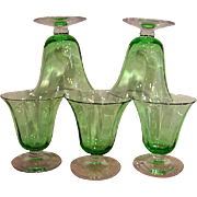 Five Green Fostoria Ribbed Optic Footed Wine Goblets