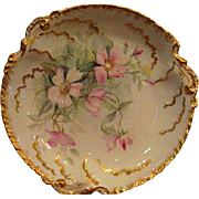 Hand Painted Limoges Large Charger Bowl with Pink Wild Rose Design and Gold Gilt