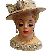 Rubens Lady Head Vase complete with Pearl Earrings and Pearl Necklace