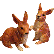 Two Lefton Brown Porcelain Bunnies or Rabbits
