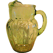 Large Green Depression Glass Pillar Optic Pitcher with Ice Lip