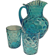 Hand Blow Fenton Ruffled Edge Blue Thumbprint Pitcher and two Tumblers