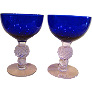Two Cobalt Blue Morgantown Elegant Depression Glass Golf Ball High Sherbet Stems Goblets