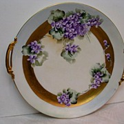 Hand Painted Limoges Violet Decorated Huge Cake Plate