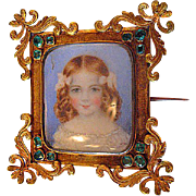 Hand Painted Child's Miniature Portrait on Porcelain Mounted in metal frame brooch