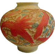 Consolidated Phoenix Art Glass Cockatoo Footed Vase