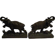 Pair Cast Iron Elephant and Leopard Bookends