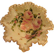 Fenton Silver Crest Hand Painted Charleston Roses Ruffled Edge Bowl