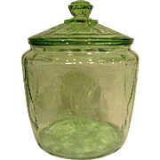 Green Depression Glass Cameo Ballerina Cookie Jar
