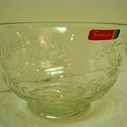 Fostoria Footed Floral Cut Bowl