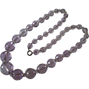 Vintage Faceted Amethyst & Rock Crystal Natural Stone Bead Necklace