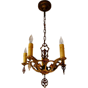 Vintage Virden 5-candle Gothic Style Polychrome Chandelier