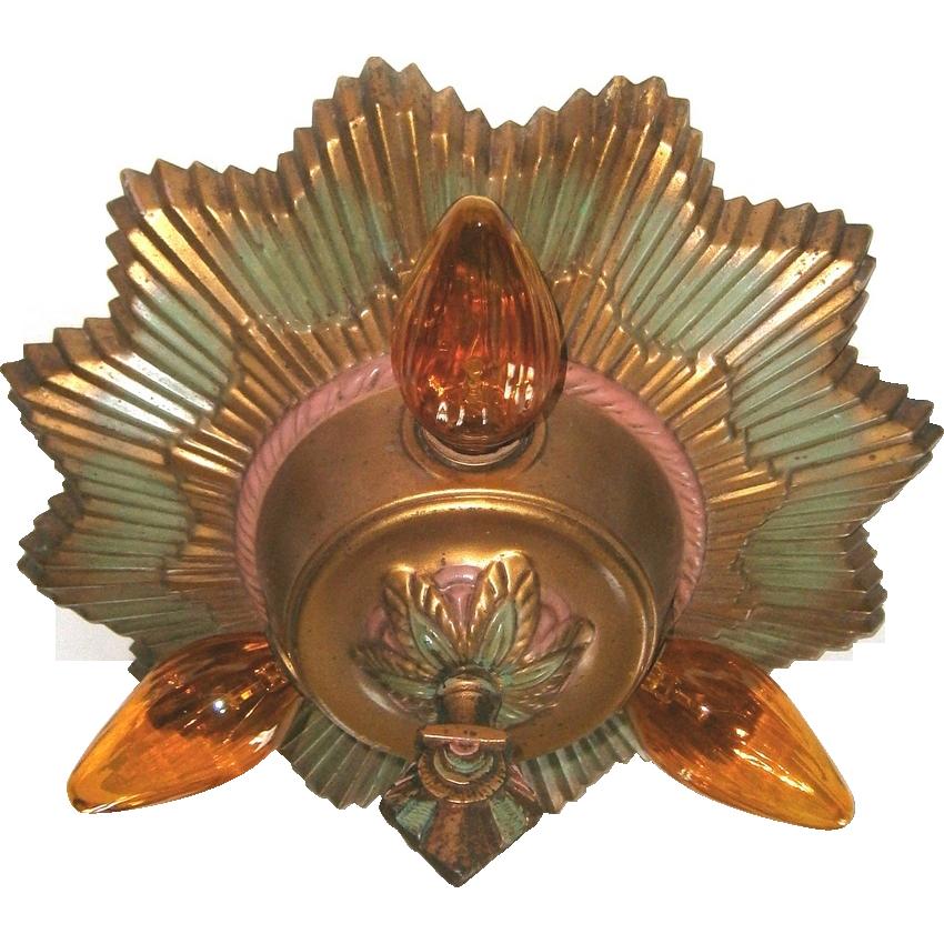 Virden Brass Starburst 3-light Art Deco Flush Mount from ...