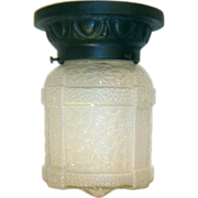 Vintage Markel Pebbled Glass Iron Porch Light Fixture - Two available