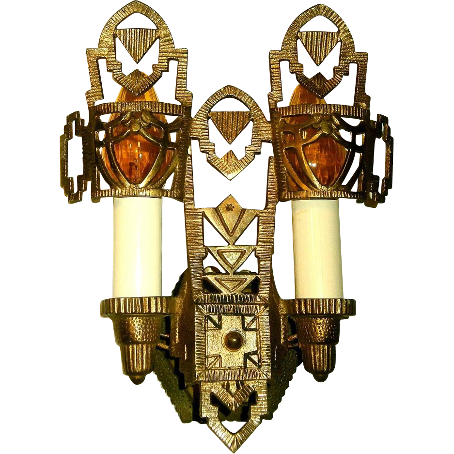 Six Vintage Art Deco Brass Wall Sconces Priced Each from loftylighting on Ruby Lane