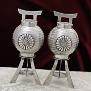 Sterling Japanese Lanterns Salt Pepper Shakers Vintage Solid Silver Pepper Pots From Japan Circa 1950