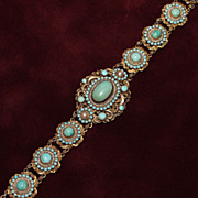 Austro Hungarian Gilt 800 Silver Bracelet With Porcelain Cabochons in Turquoise and Seed Pearl