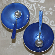 Sterling Danish Salt Cellars Set by Volmer Bahner With Two Cellars And Two Matching Spoons Vintage 1960's Solid Silver Blue Guilloche Denmark