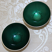 Sterling and Enamel Bowls by Volmer Bahner From Copenhagen Solid Silver Enamel Condiment Dishes