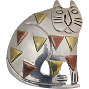 BIG Calico Cat Sterling Large Pendant or Brooch From Taxco Mexico 23 Grams