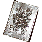 Fig and Cherry Embellished Box Repousse Fruit Lid 800 Silver Vintage German Snuff or Trinket .